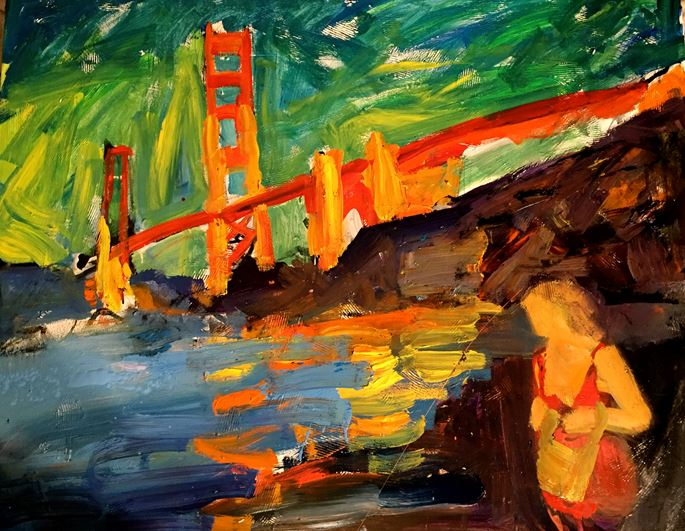 Tom Christopher - The Barbary Coast, Woman in Red by the Golden Gate | MasterArt
